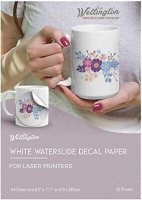 Wellington Waterslide Decal Paper Laser White 20 Sheets A4 Size New