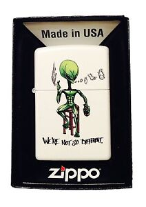 Zippo Custom Lighter We're Not So Different Alien Smoking & Drinking Pocket New