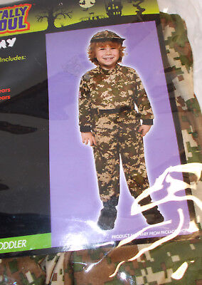 Army Jumpsuit Hat Boy Costume Child 2-4 4-6 NWT - Male Army Costume