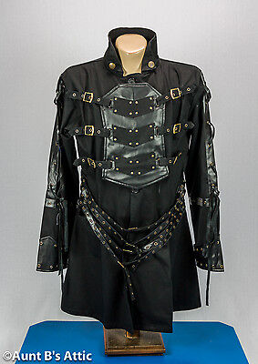Steampunk Coat Men's Unique Black Buckled Gothic Edward Scissorhands Costume - Unique Costumes Men
