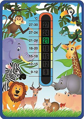 JUNGLE - Baby Safe Temperature Check -  Nursery & Room Safety Wall Thermometer