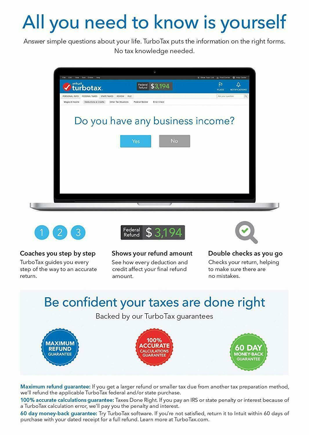 TurboTax Home & Business 2018 Federal +State / PC USA SELLER 17yr ebayer