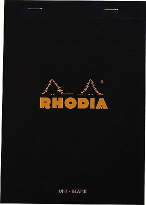 Rhodia Staplebound Blank Paper Notepad In Black - 6 X 8.25 - 80 Sheets New