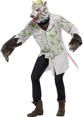 aborratte Kostüm Weiß Jacke mit Schwanz und Maske Medium (Kostüme Und Masken)