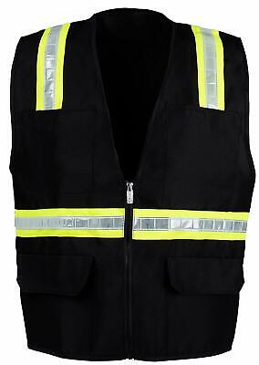 Black Safety Vest With 4 Front Pocket Small - 2xl -fx Two Tone