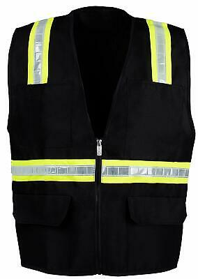 Black Safety Vest With 4 Front Pocket Small - 2xl -fx Two Tone Black Safety Vest