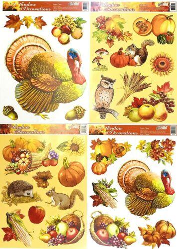 Fall Harvest Vinyl Window Clings Turkeys Owl Squirrels Sunflowers Pumpkins Fruit