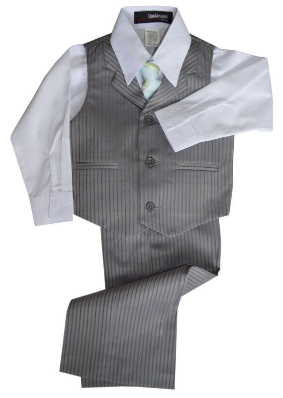 G280 Silver Pinstripe Boys Formal Dresswear Vest Set Sizes Baby to Teens