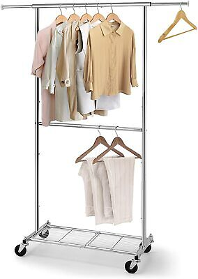 Simple Trending Double Rod Clothing Garment Rack With Wheels Bottom Shelf