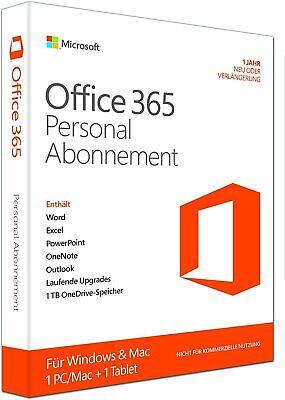 Microsoft Office 365 Personal 5 Geräte 1 Nutzer 1 Jahr Abo MS Office Single DE