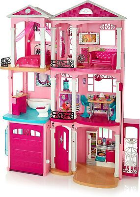 New Barbie 3 Story Pink Furnished Doll Town house Dreamhouse Townhouse