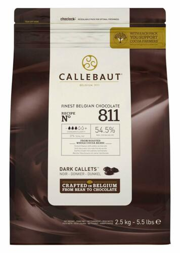 Callebaut Belgian Dark Couverture Chocolate Semisweet Callets 54.5%  5.5lb - 811