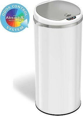 iTouchless 13 Gallon Touchless Sensor Trash Can Odor Filter System, Round Steel
