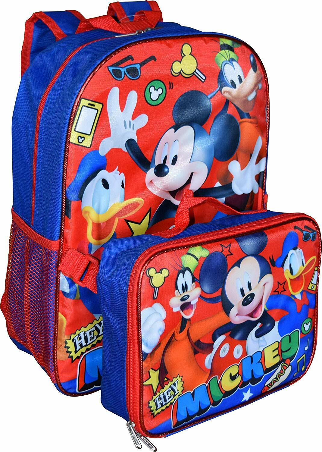 Disney Mickey Mouse Boys Blue School Backpack Lunch Box SET