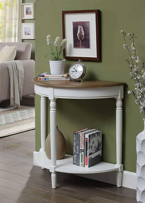 Modern Console Table Entryway Wooden Half Moon Hallway Wood Sofa White Two Tone Ebay