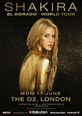 "SHAKIRA ""EL DORADO WORLD TOUR"" LONDON, UK 2018 CONCERT POSTER - Latin Pop, Dance"