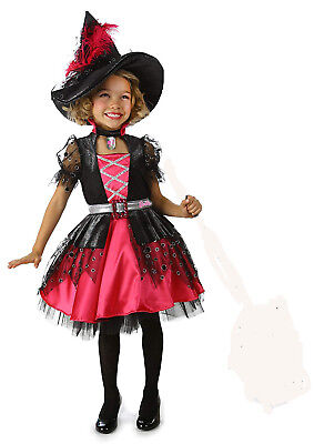 New Princess Paradise BARBIE Hot Pink & Black WITCH COSTUME With HAT Size 6 (Hot Barbie Kostüm)