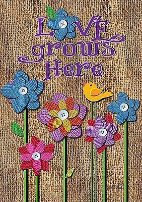"Love Grows Here Spring Garden Flag Inspirational Birds Floral 12.5"" x 18"""