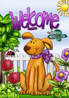 - FM166 WELCOME DOG FLOWERS SPRING SUMMER HOME 12