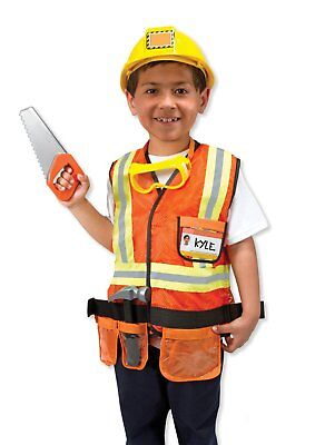 Melissa & Doug Construction Worker Role Play Fancy Dress Costume Outfit Set 3-6