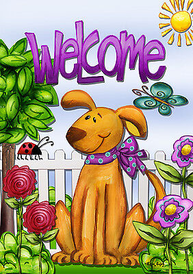 "Welcome Dog Spring Garden Flag Cute Pets Flowers Butterfly Puppy 12.5""x18"""