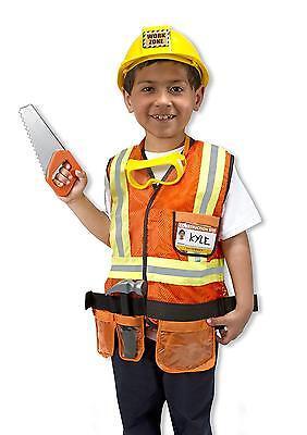 Construction Worker Role Play Costume Set Pretend Boy Dress Up Kids 6 Piece New