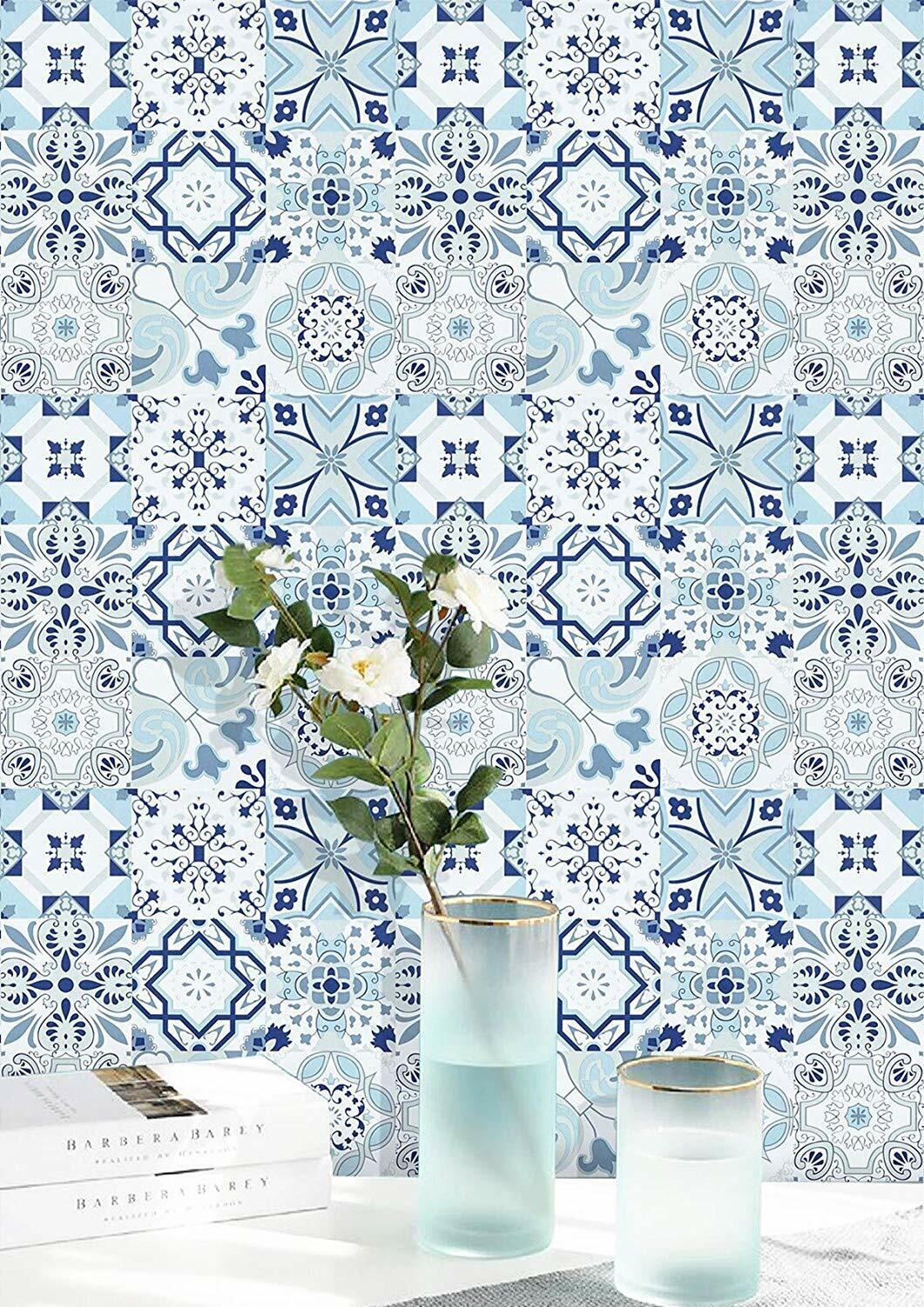 Wallpaper Blue Flower Contact Paper Peel And Stick Self Adhesive