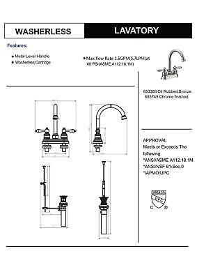 Designers Impressions Oil Rubbed Bronze Lavatory Bathroom Vanity Faucet 2