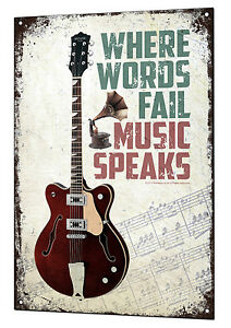 Music Speaks Large Metal Tin Sign Retro Guitar Vintage Plaque Guitar