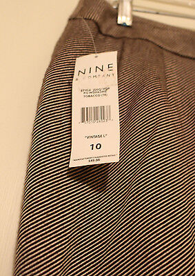 New NWT Womans Nine & Co., Brown & Beige Striped Cropped Pants SZ 10