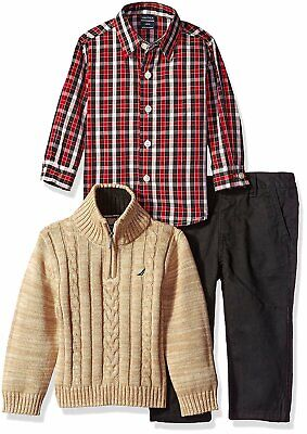 Nautica Baby Boys' 3 Piece Set with Shirt, Sweater  and Twill Pant MSRP -