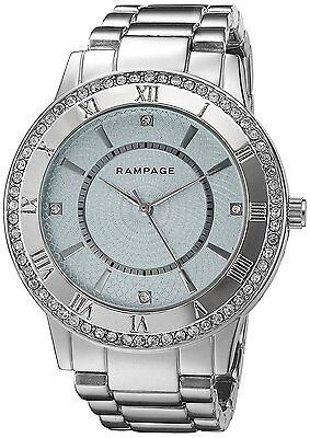 Women's Watch Crystal Accented Bezel Silver Tone Bracelet Fashion Rampage Watch