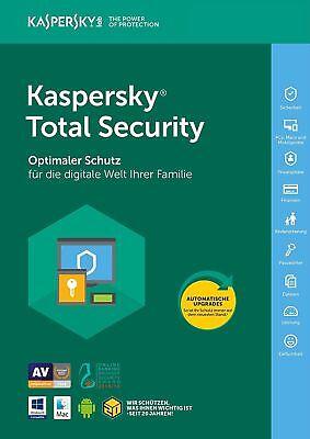 Kaspersky Total Security 2018 ( 1 PC, 3 PC, 5 PC / Geräte | 1Jahr / 2 Jahre ) ()