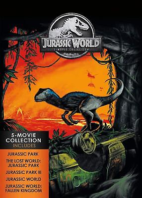Jurassic World: 5-Movie Collection (DVD, 2018, 5-Disc Set) w/Slipcover) NEW!