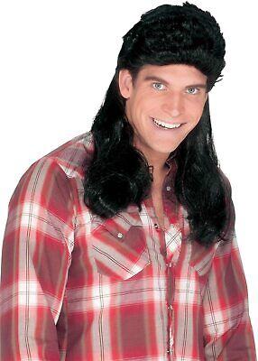 Black Mullet Wig Redneck Costume Hillbilly Hick Long Hair Super Mens Adult Gift