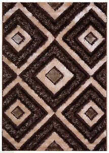 Beige Brown Contemporary Design Shaggy Shag Area Rug 6098