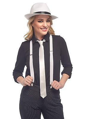 Gangster Costume Women Ladies 1920s Lady Mobster Fancy Dress Pinstripe Suit Sets