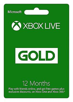 New Microsoft Xbox Live 1 Year  12 Month  Gold Membership Subscription Card
