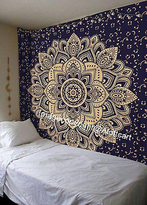 Blue Gold Passion Ombre Boho Indian Mandala Wall Hanging Gypsy Tapestry Wall Art](Bohemian Wall Art)
