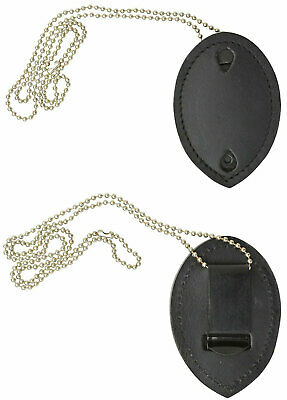 Leather Badge Holder Wneck Chain Strap For Sheriff Police Officer Security Fire