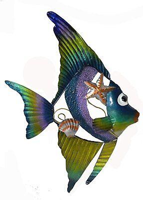 LARGE METAL ANGEL FISH OCEAN WALL ART HOME DECOR TROPICAL ISLAND MODERN FISHING