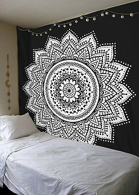 Black and Gray Tapestry Wall Hanging Mandala Traditional Cotton Printed Bohemian