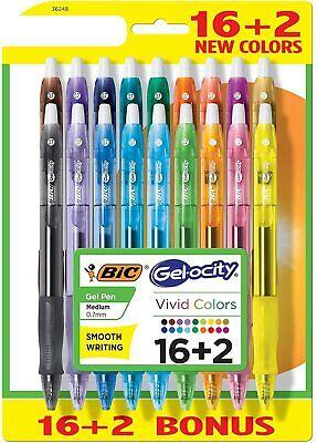 Bic Gelocity Retractable Gel Pen 0.7mm Medium Vivid Colors 18 Count