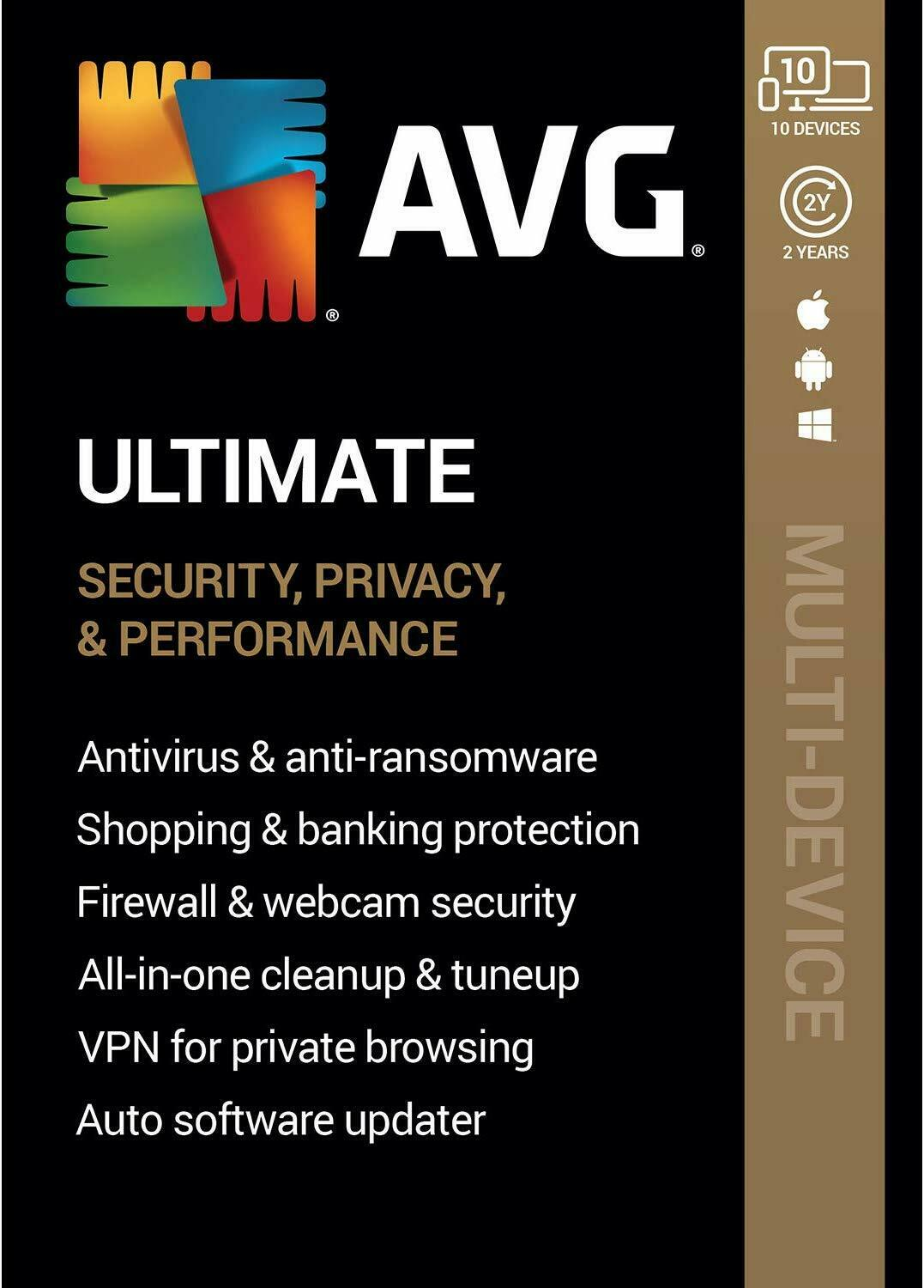 AVG ULTIMATE 2020 - FOR 10 DEVICES - 2 YEAR - NOW INCLUDES SECURE VPN - DOWNLOAD