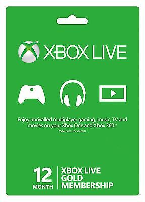 Microsoft Xbox One 360 12 Month Live Gold Membership   Fast Delivery