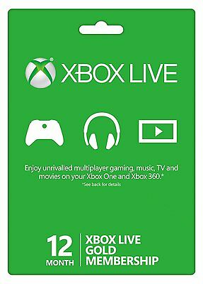 Microsoft 12 Month Xbox Live Gold Membership Subscription Fast Delivery