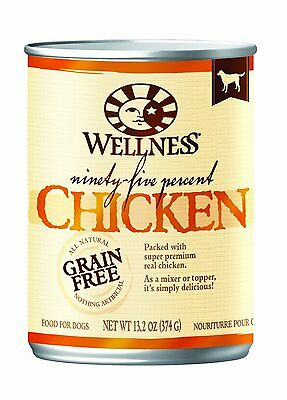 Wellness Canned Dog Food for Adult Dogs, 95-Percent Chicken, 13.2-Ounce Cans ,Pa