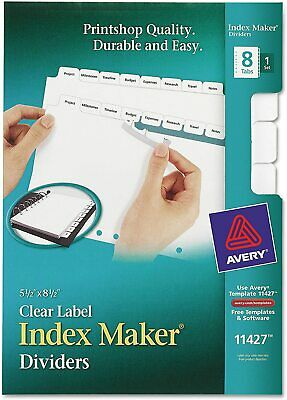 Avery 8-tab Mini Binder Dividers 5.5 X 8.5 Easy Print Apply Clear Label St