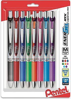 Pentel Energel Rtx Pens 0.7 Mm Medium Point Assorted Ink Colors Pack Of 8