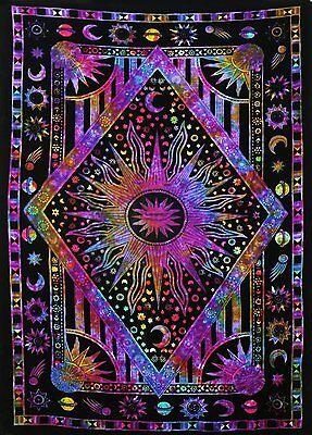 Twin Blue Tie Dye Purple Burning Sun Tapestry Celestial Sun Moon Planet Bohemian